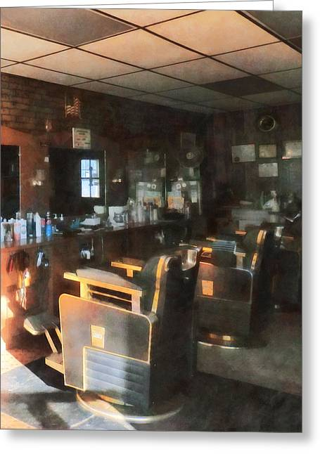 Barberchair Greeting Cards - Barber - Barber Shop With Sun Streaming Through Window Greeting Card by Susan Savad