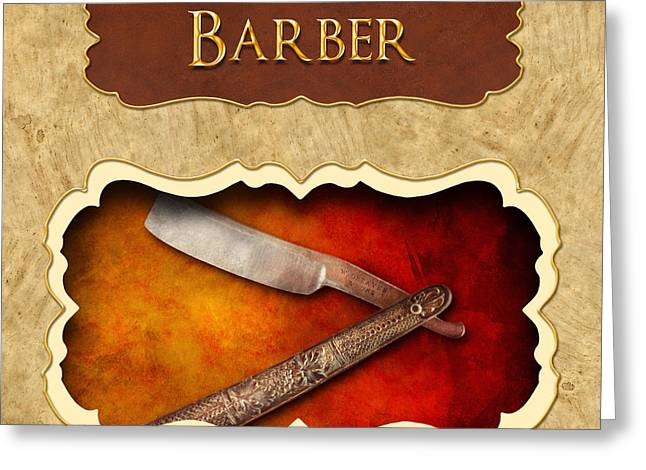 Groomer Greeting Cards - Barber button Greeting Card by Mike Savad