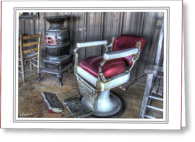 Matting Greeting Cards - Barber Chair and Potbelly Stove Greeting Card by Barry Monaco