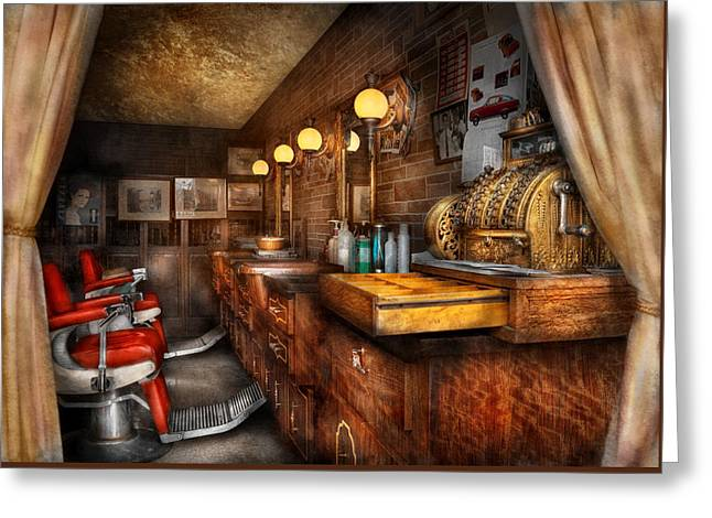 Barber - Closed On Sundays Greeting Card by Mike Savad