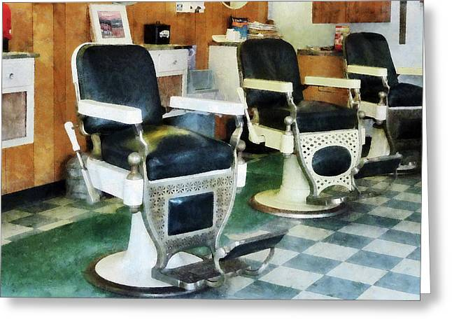 Barberchair Greeting Cards - Barber - Corner Barber Shop Greeting Card by Susan Savad