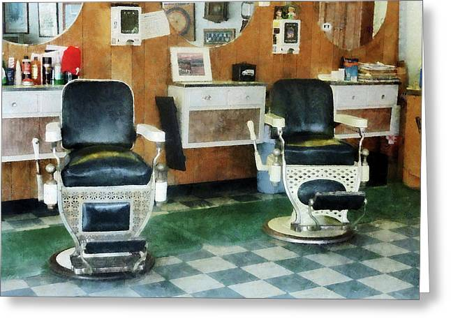 Shops Greeting Cards - Barber - Corner Barber Shop Two Chairs Greeting Card by Susan Savad