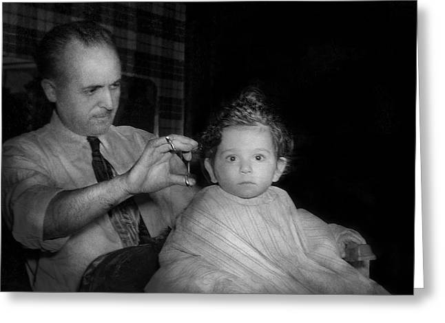 Barber - First Haircut Greeting Card by Mike Savad