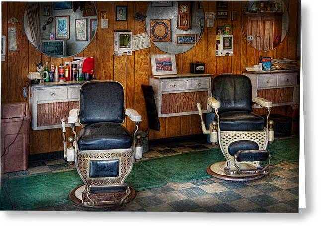 Barberchair Greeting Cards - Barber - Frenchtown NJ - Two old barber chairs  Greeting Card by Mike Savad