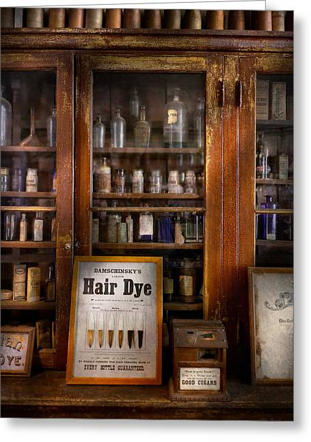 Cabinet Room Greeting Cards - Barber - Hair Dye Greeting Card by Mike Savad