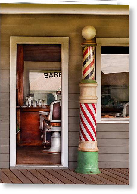 Suburbanscenes Greeting Cards - Barber - I need a hair cut Greeting Card by Mike Savad