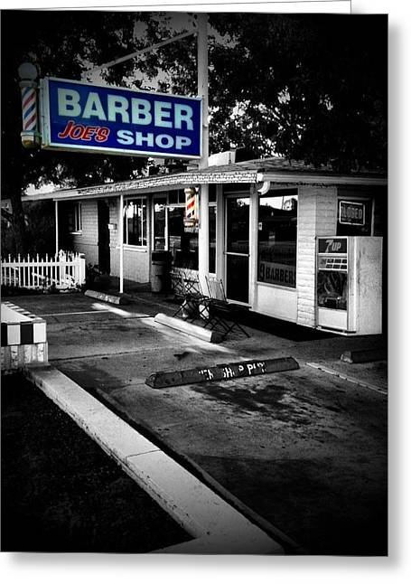 Thin Eyebrows Greeting Cards - Barber Joes Shop Greeting Card by Chepe Guillen