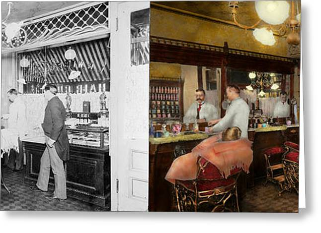 Groomer Greeting Cards - Barber - L.C. Wiseman Barbershop NY 1895 - Side by side Greeting Card by Mike Savad