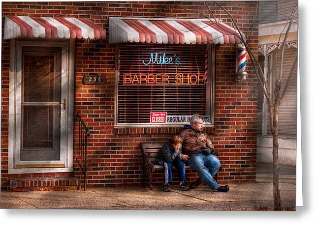 Frustrated Greeting Cards - Barber - Metuchen NJ - Waiting for Mike Greeting Card by Mike Savad