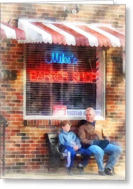 Susan Savad Greeting Cards - Barber - Neighborhood Barber Shop Greeting Card by Susan Savad
