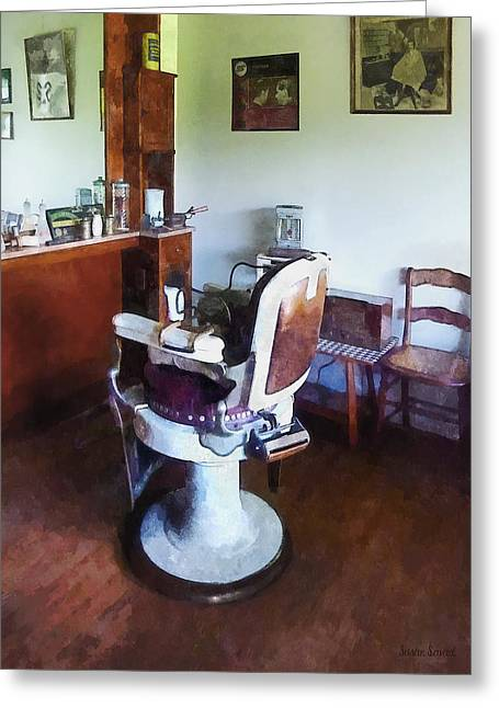 Susan Savad Greeting Cards - Barber - Old-Fashioned Barber Chair Greeting Card by Susan Savad