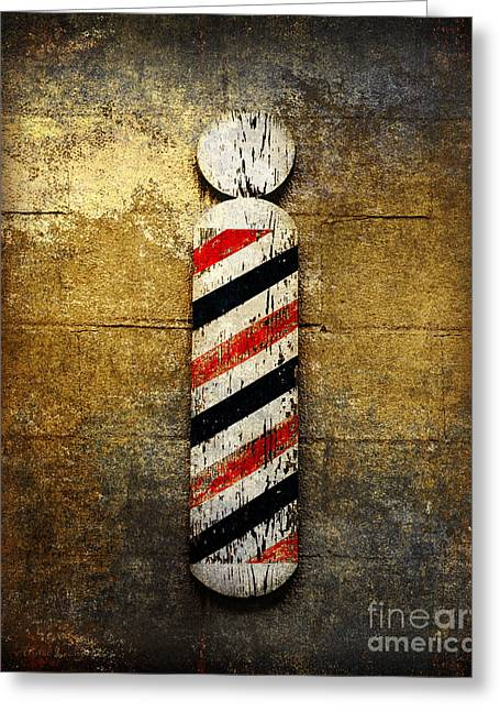Fine Mixed Media Greeting Cards - Barber Pole Greeting Card by Andee Design