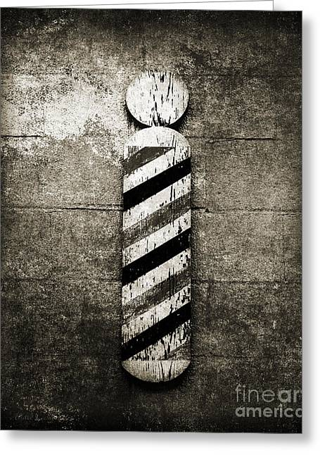 Hair Ornaments Greeting Cards - Barber Pole Black And White Greeting Card by Andee Design