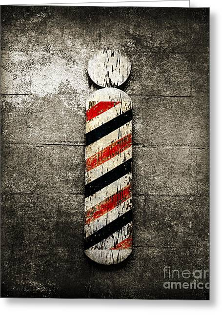 Red White And Blue Mixed Media Greeting Cards - Barber Pole Selective Color Greeting Card by Andee Design