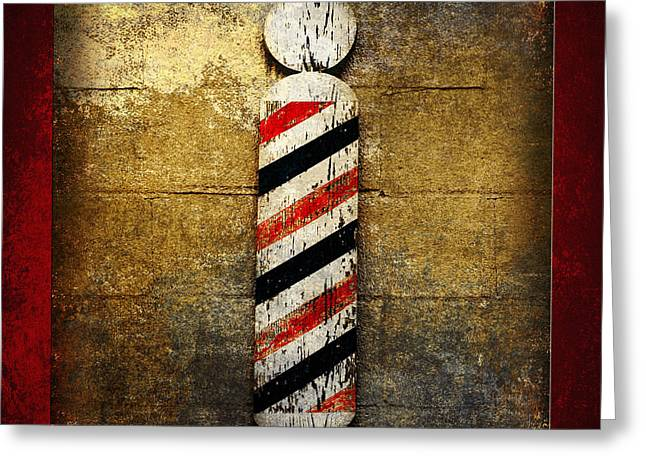 Hair Ornaments Greeting Cards - Barber Pole Square Greeting Card by Andee Design