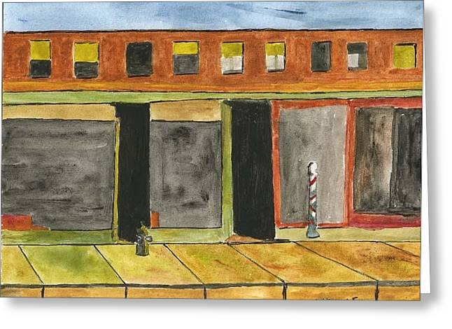 Store Fronts Drawings Greeting Cards - Barber Pole with Store Fronts. -After Hopper Greeting Card by Robert Wittig