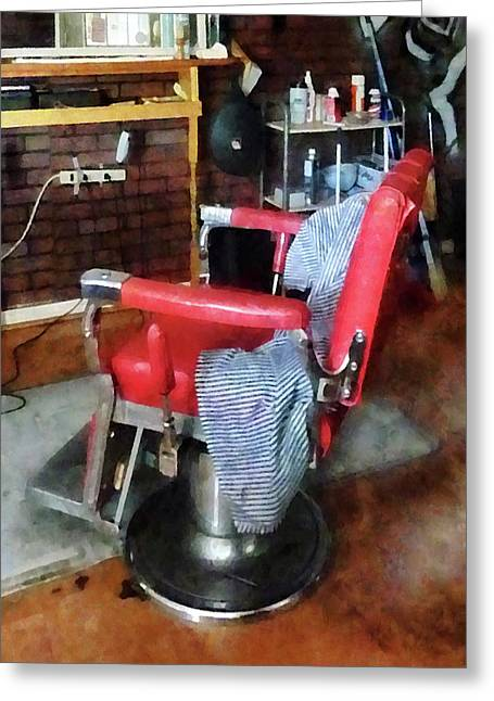 Barberchair Greeting Cards - Barber - Red Barber Chair Greeting Card by Susan Savad