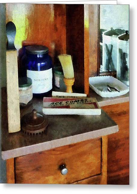 Barbers Greeting Cards - Barber - Shaving Brush and Box of Combs Greeting Card by Susan Savad