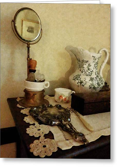 Barber Greeting Cards - Barber - Shaving Brush Mugs and Mirror Greeting Card by Susan Savad