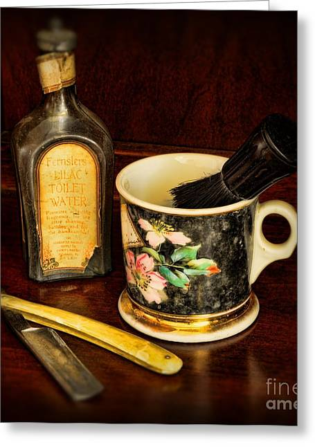Hair Dresser Greeting Cards - Barber - Shaving Mug And Toilet Water Greeting Card by Paul Ward