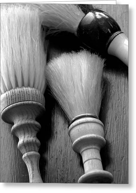 Scissors Greeting Cards - Barber Shop 13 BW Greeting Card by Angelina Vick