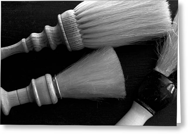 Scissors Greeting Cards - Barber Shop 14 BW Greeting Card by Angelina Vick