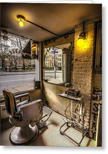 Scissors Greeting Cards - Barber Shop Greeting Card by David Morefield