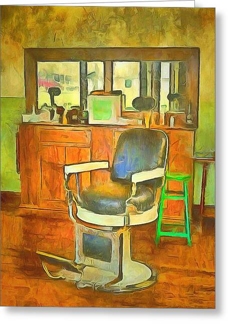 Barberchair Greeting Cards - Barber Shop  Greeting Card by L Wright