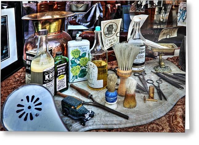 Scissors Greeting Cards - Barber Shop Tools Greeting Card by James Eddy