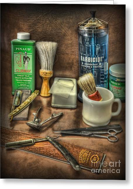 Scissors Greeting Cards - Barber Shop Tools  Greeting Card by Lee Dos Santos