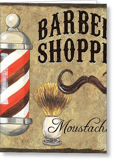 Antiques Sign Greeting Cards - Barber Shoppe 1 Greeting Card by Debbie DeWitt