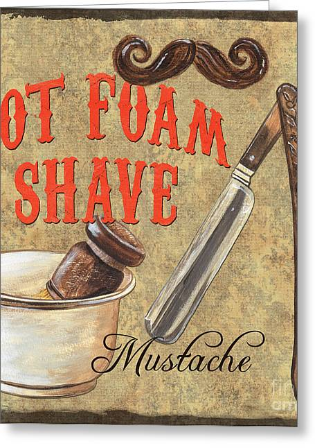Moustache Greeting Cards - Barber Shoppe 2 Greeting Card by Debbie DeWitt