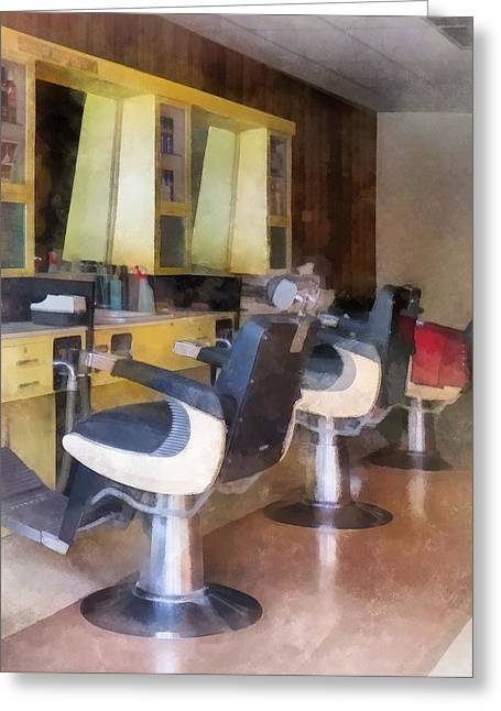 Barberchair Greeting Cards - Barber - Small Town Barber Shop Greeting Card by Susan Savad