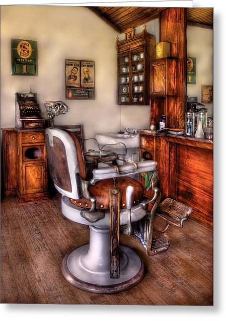 Hair Dresser Greeting Cards - Barber - The Barber Chair Greeting Card by Mike Savad