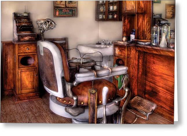 Barber - The Barber Chair Greeting Card by Mike Savad