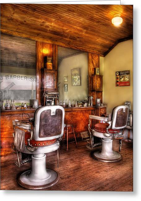 Hair Dresser Greeting Cards - Barber - The Barber Shop II Greeting Card by Mike Savad