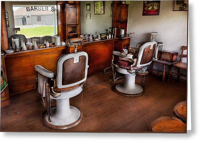 Barber - The Hair Stylist Greeting Card by Mike Savad