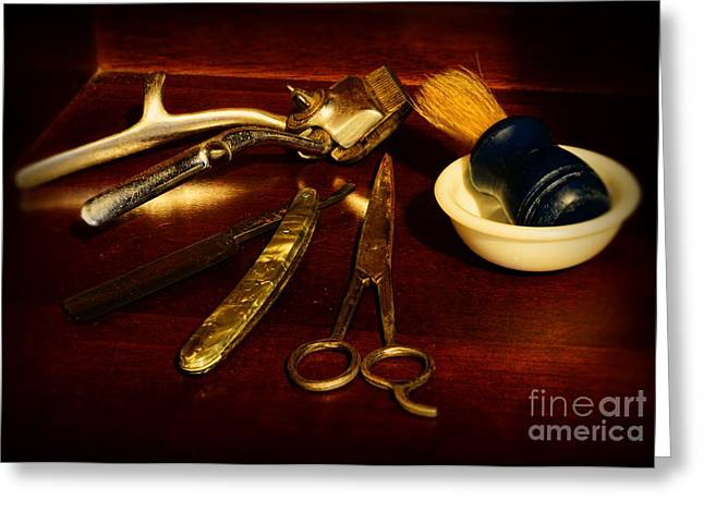 Barber - things in a barber shop Greeting Card by Paul Ward