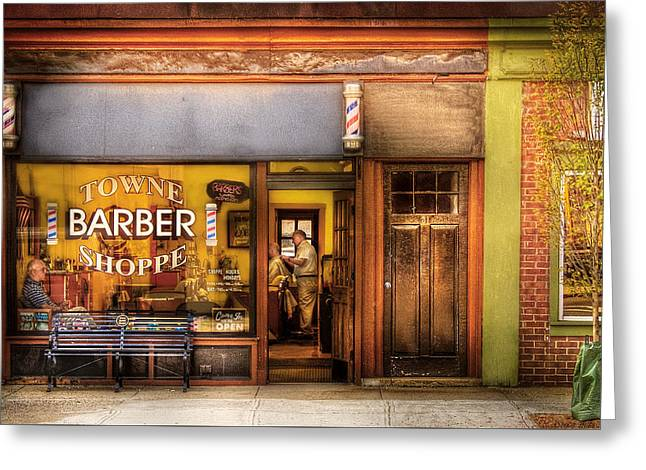Mike Savad Greeting Cards - Barber - Towne Barber Shop Greeting Card by Mike Savad