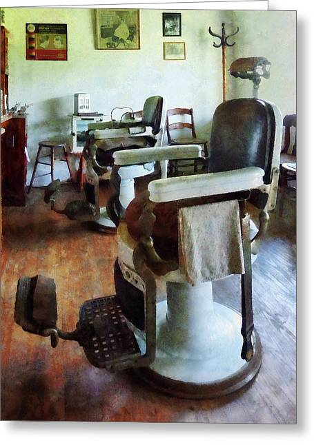 Barberchair Greeting Cards - Barber - Two Barber Chairs Greeting Card by Susan Savad
