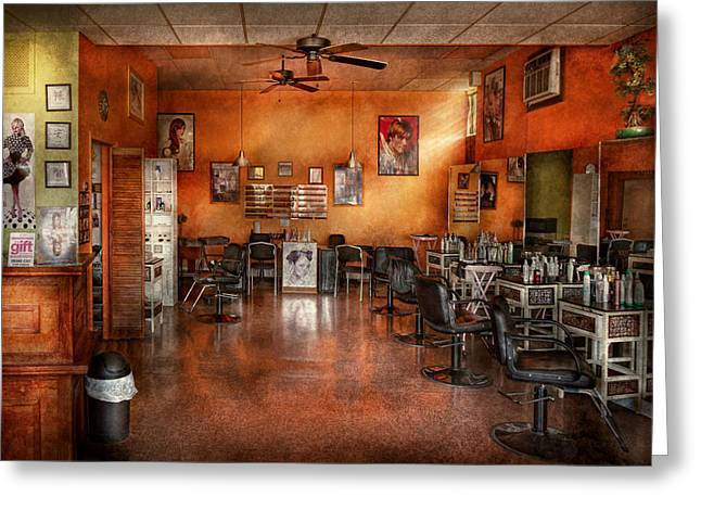 Barber - Union NJ - The modern salon  Greeting Card by Mike Savad
