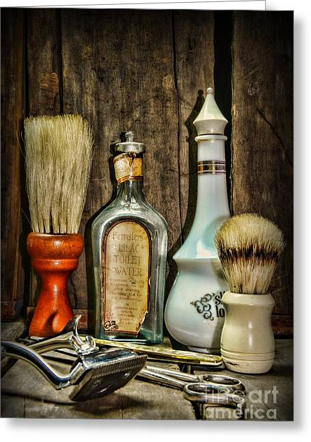 Scissors Greeting Cards - Barber - Vintage Barber Bottles Greeting Card by Paul Ward