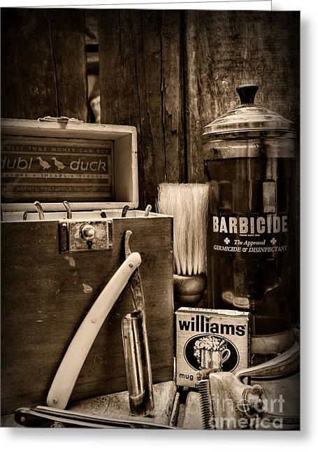Hair Dresser Greeting Cards - Barber - Vintage Barber Tools - black and white Greeting Card by Paul Ward