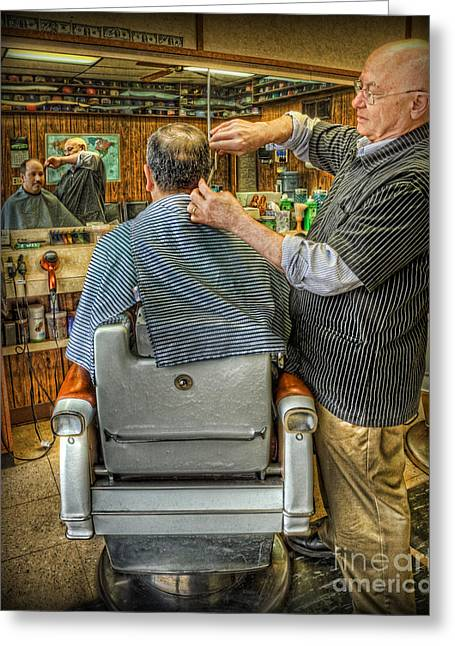 Barberchair Greeting Cards -  the Barber Shop Shave and a Haircut - Barber Shop Greeting Card by Lee Dos Santos