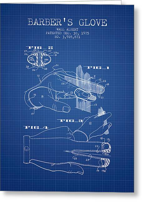Barber Shop Greeting Cards - Barbers Glove Patent from 1975 - Blueprint Greeting Card by Aged Pixel