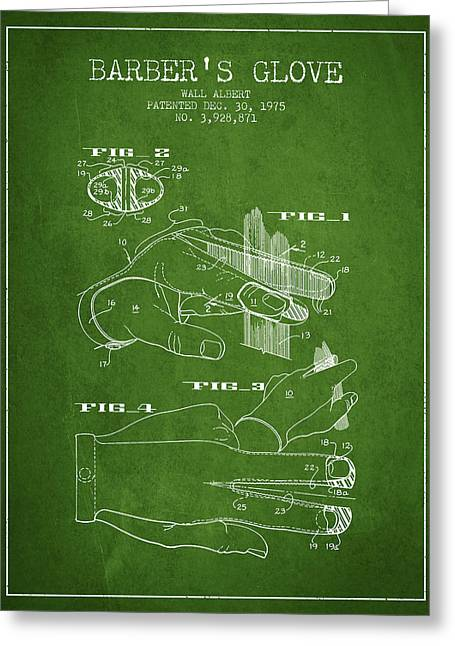 Barber Shop Greeting Cards - Barbers Glove Patent from 1975 - Green Greeting Card by Aged Pixel