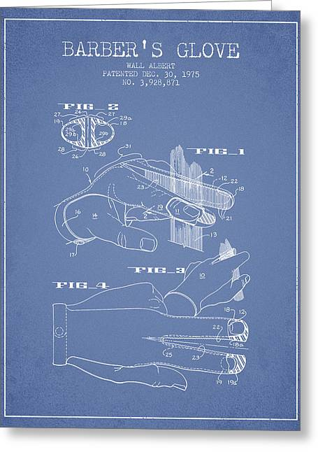 Barber Shop Greeting Cards - Barbers Glove Patent from 1975 - Light Blue Greeting Card by Aged Pixel