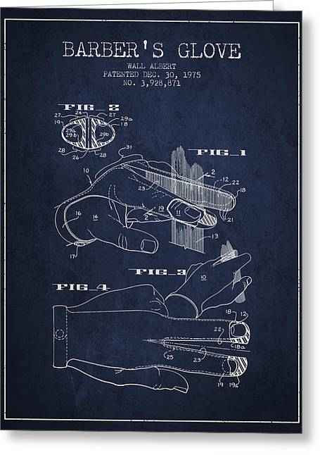 Barber Shop Greeting Cards - Barbers Glove Patent from 1975 - Navy Blue Greeting Card by Aged Pixel
