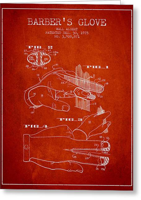 Barber Shop Greeting Cards - Barbers Glove Patent from 1975 - Red Greeting Card by Aged Pixel