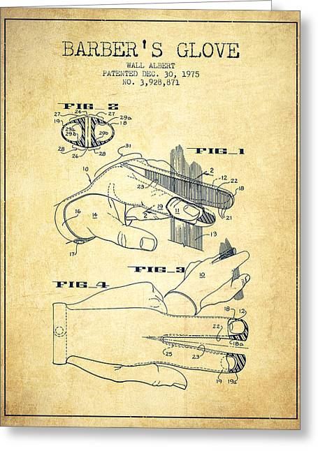 Barber Shop Greeting Cards - Barbers Glove Patent from 1975 - Vintage Greeting Card by Aged Pixel